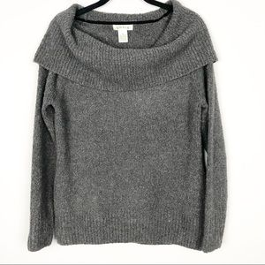 Orvis charcoal gray cowl neck sweater